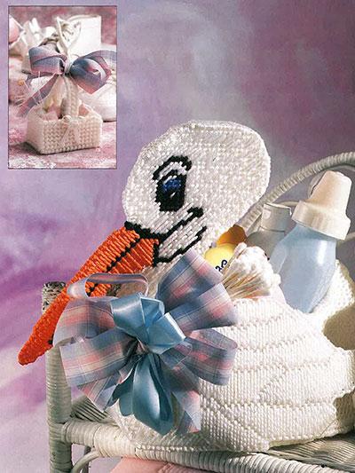Stork Basket Baby Shower Centerpiece in Plastic Canvas
