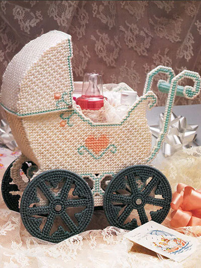 Baby Carriage Centerpiece for Baby Shower to make in Plastic Canvas