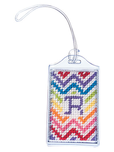 Luggage Tags make a rainbow luggage tag in plastic canvas