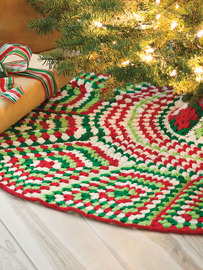 Crochet a Granny Square Christmas Tree Skirt Pattern