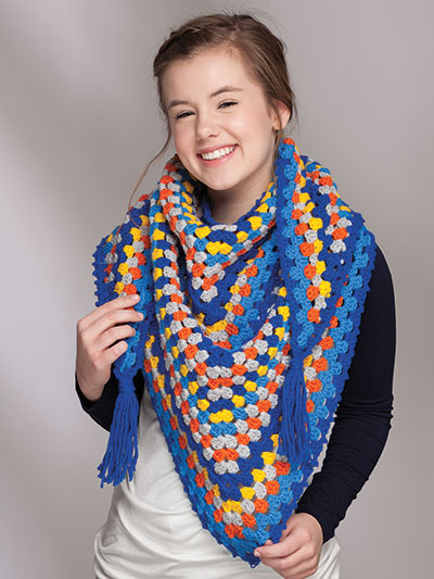 Crochet a Granny Square Shawl scarf pattern