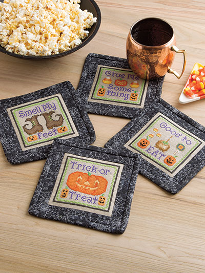 Cross stitch patterns coasters for Halloween