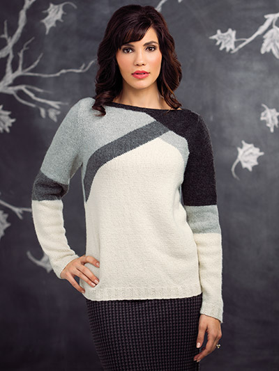 Beautiful black, grey, and white striped sweater knitting pattern for autumn