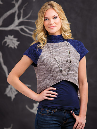 Short sleeve cropped autumn sweater knitting pattern
