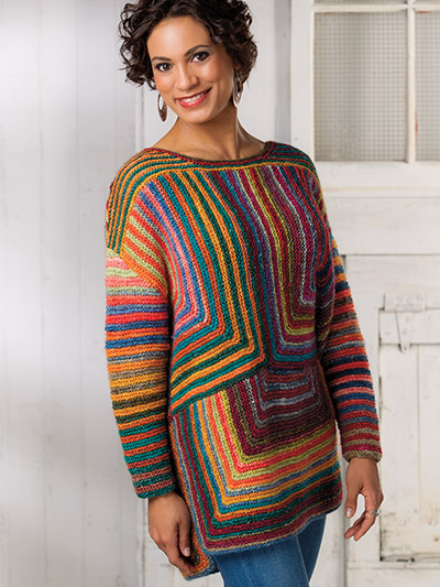 Colorful striped fall knitting sweater pattern to download