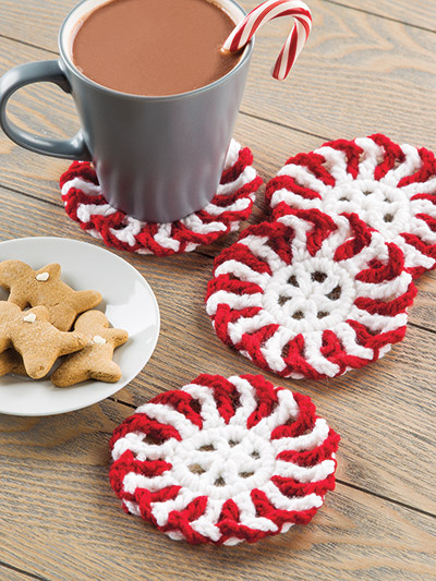 Crochet peppermint coasters pattern for Christmas