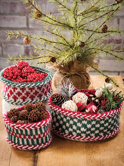 Knitting patterns for Christmas baskets