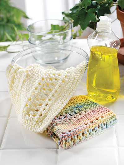 Knitting different stitches of dishcloth patterns