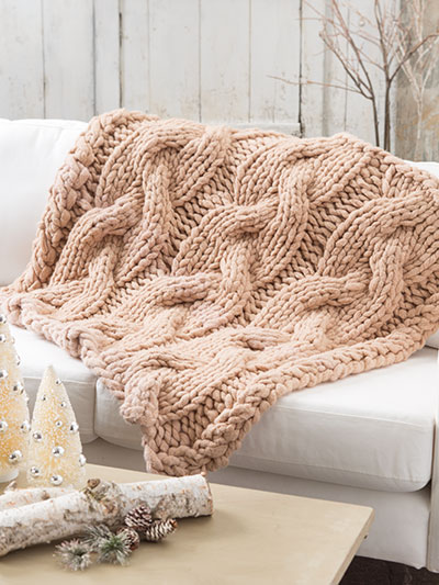 Knitting a soft and cozy afghan for winter, super chunky winter afghan knitting pattern