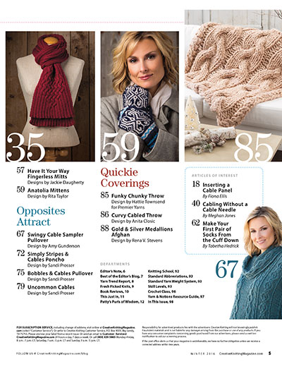 Knitting patterns for winter scarves, mittens, sweaters and more