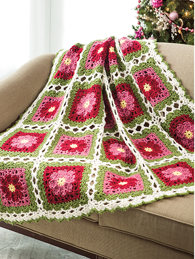 Crochet Christmas Rose Granny Square afghan pattern
