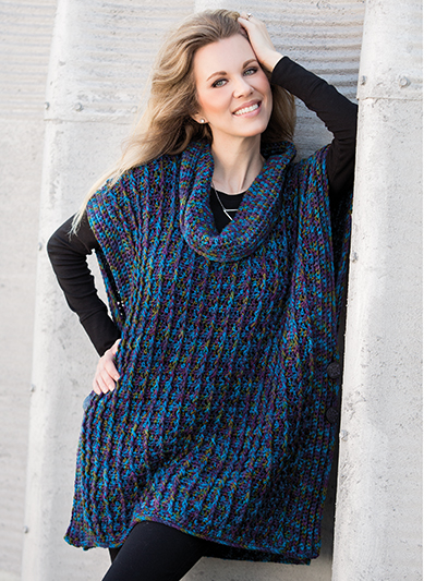 Crochet cowl neck poncho pattern