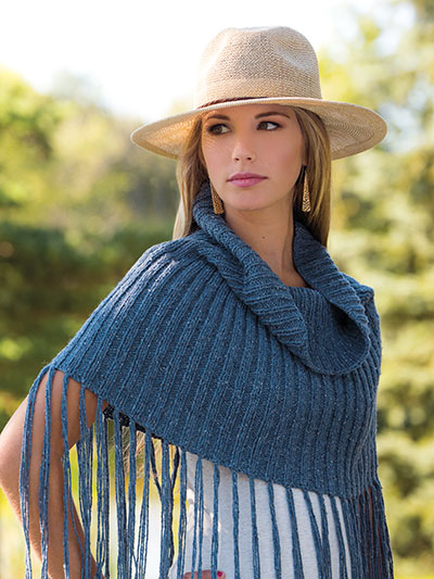 Knitting pattern for a fringe cover up shawl scarf pattern