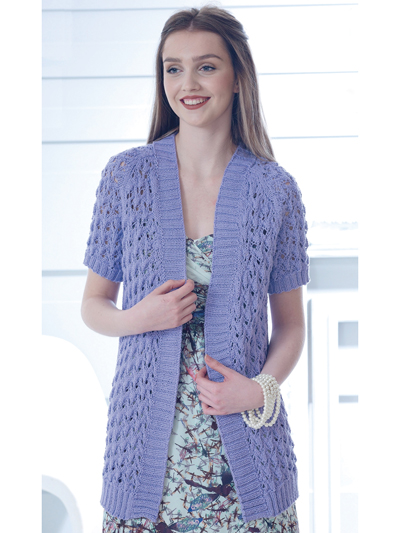 Cardigan Jacket Knit Patterns 4837 Short Long Sleeve Cardigan