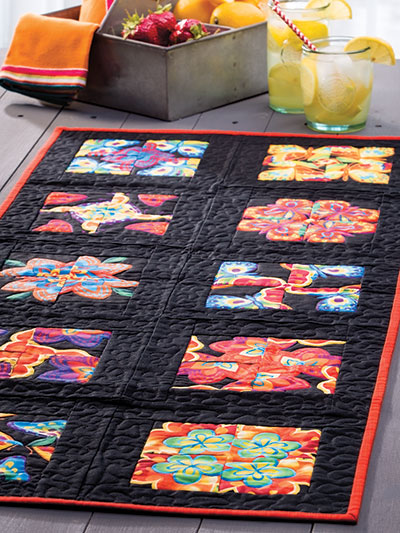 Colorful black picnic quilt pattern