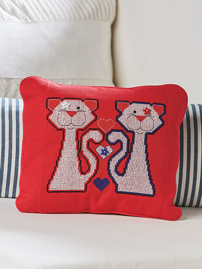 Cat pillow cross stitch pattern