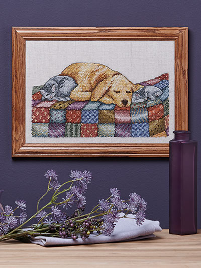 Sleeping dog puppy cross stitch pattern