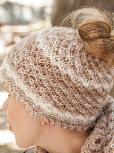 Messy bun hat and cowl pattern knitting pattern