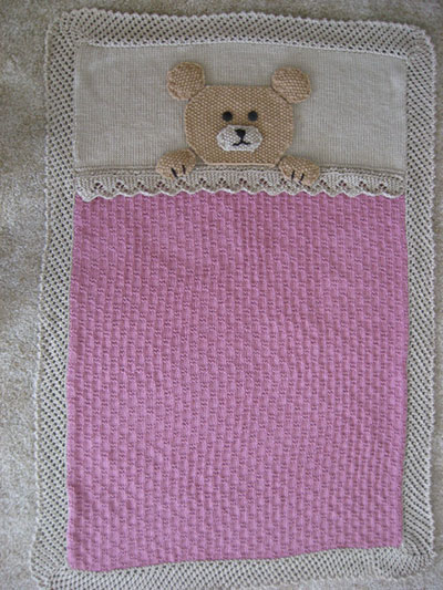 Teddy Bear Crib Blanket Knitting Pattern
