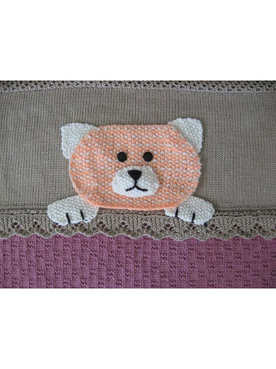 Cat kitten crib blanket knitting pattern