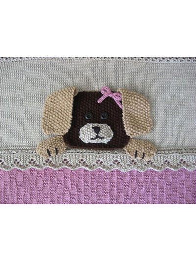 Dog Puppy Crib Blanket Knitting Pattern