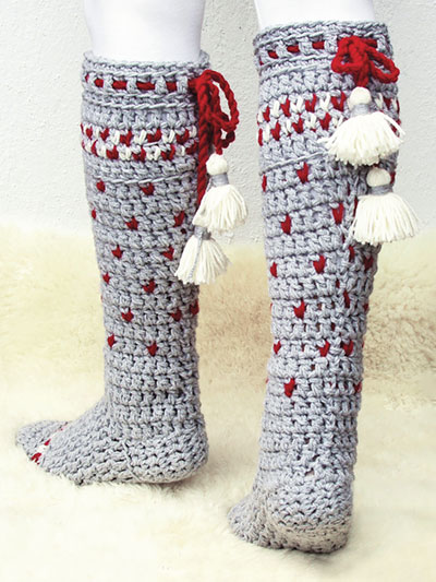 Crochet Booties Socks Downloads Lillehammer Knee High Socks