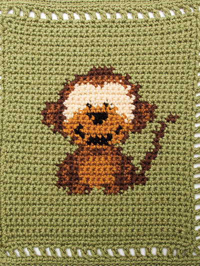 Crochet Monkey Animal baby blanket pattern
