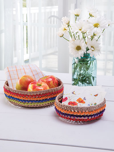 Fast and Easy Colorful Kitchen Baskets to Crochet