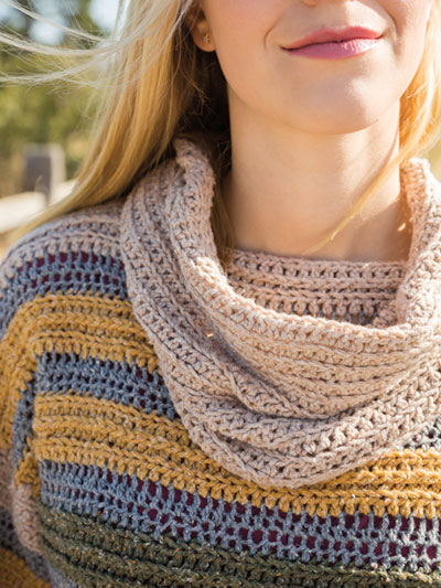 Crochet striped sweater and cowl pattern