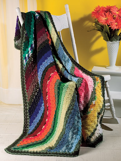 Easy to Crochet Colorful Scrap Yarn Afghan pattern