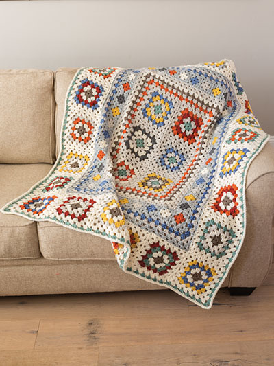 ANNIE'S SIGNATURE DESIGNS: Farmhouse Granny Afghan & Pillow Crochet Pattern