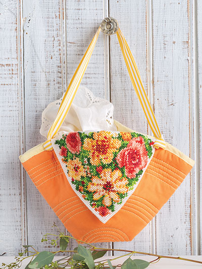 Cross stitch floral tote pattern