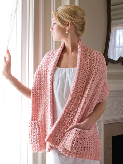 Crochet warm wrap with pockets pattern