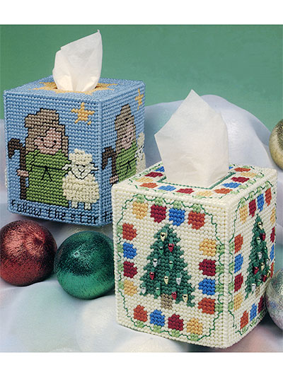 Seasonal Tissue boxes in plastic canvas Patterns