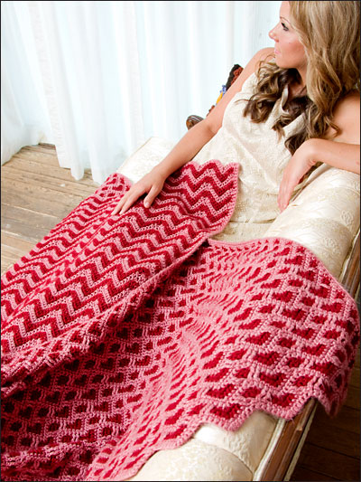 Crochet reversible ripple heart afghan pattern