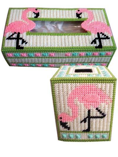 Plastic canvas tissue box patterns flamingos in plastic for Plastic canvas crafts for kids