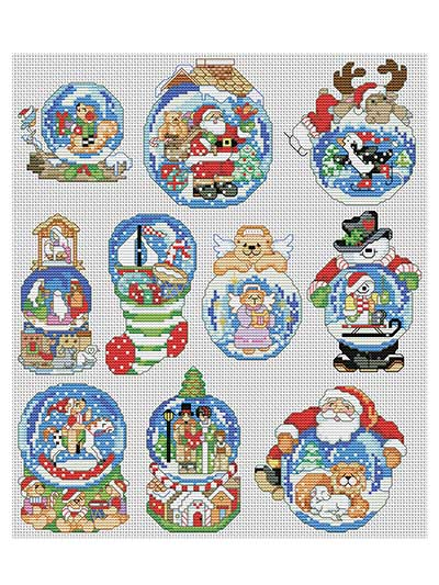 Snow Dome Ornaments Cross Stitch Pattern