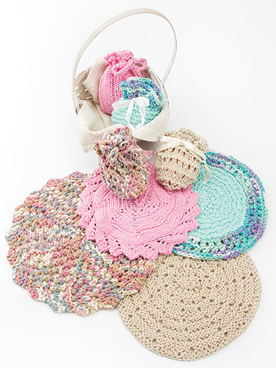 Knitted Round Facecloths Soap Sacks