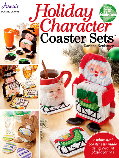 Plastic Canvas Christmas.Holiday Character Coaster Plastic Canvas Pattern Sets