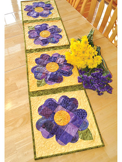Patchwork pansy table runner pattern for Round table runner quilt pattern