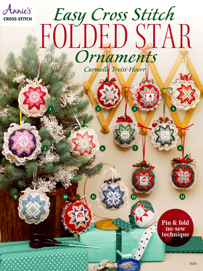 easy cross stitch folded star ornaments - Cross Stitch Christmas Decorations