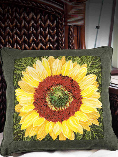 Sunflower Cross Stitch Pillow Pattern