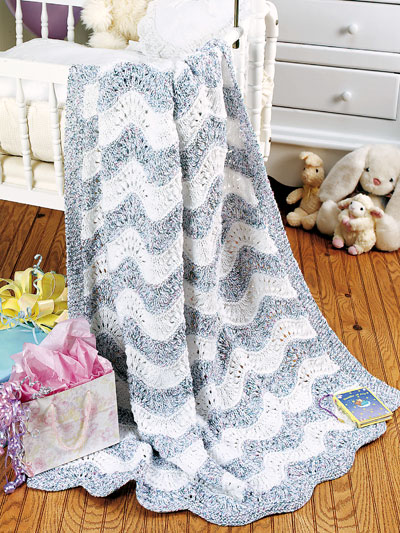Beginner Knitting Patterns Baby S Naptime Ripple Afghan Knit Pattern
