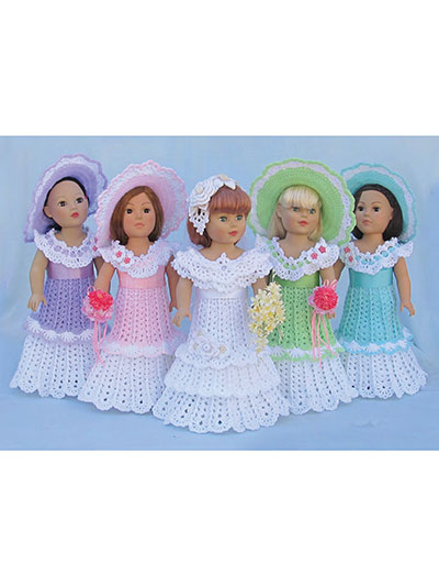 Crochet Doll Clothes Shoes Bridal Party For 18 Inch Dolls