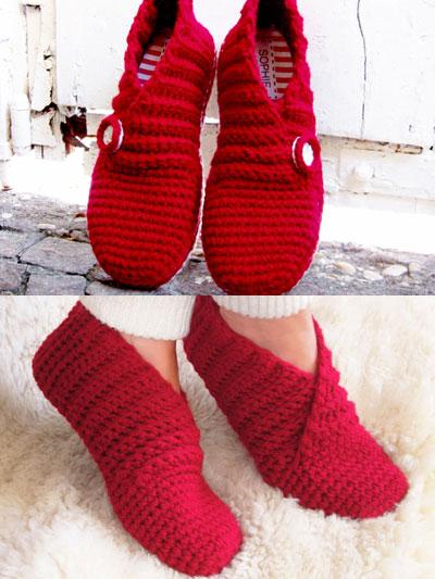 Crochet Slipper Patterns Red Rib Basic Slippers Crochet Pattern