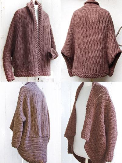 Crochet Accessory Downloads Brown Cuffed Shawl Cardigan Crochet
