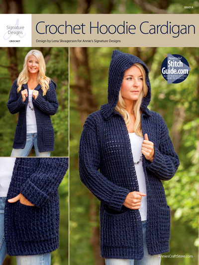 Crochet Hoodie Cardigan to crochet for fall and winter using worsted weight yarn