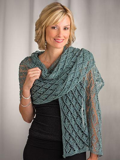 Shawl Wrap Knit Patterns Diamond Lace Stole Knit Pattern