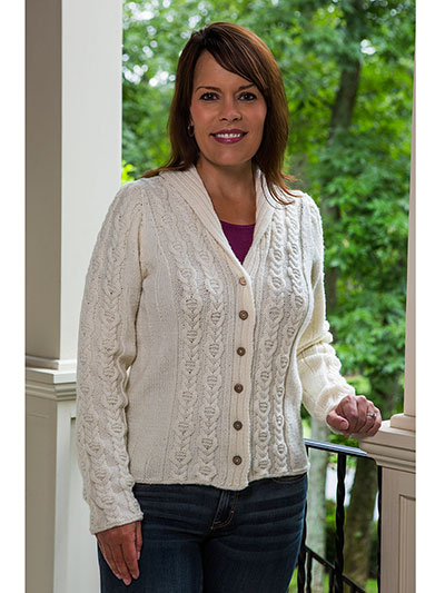 New Knitting Patterns Cabled Panel Cardigan Knit Pattern