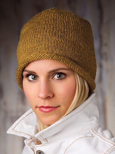 Easy Hat Gloves Handbag Patterns Basic Rolled Brim Beanie Knit